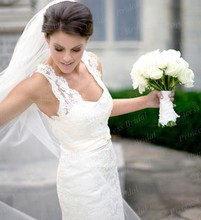 High Quality Hot Sale Wedding Dress 2014 Classical Mermaid V-Neckline Court Train Full Lace Boho Wedding Dress MF019