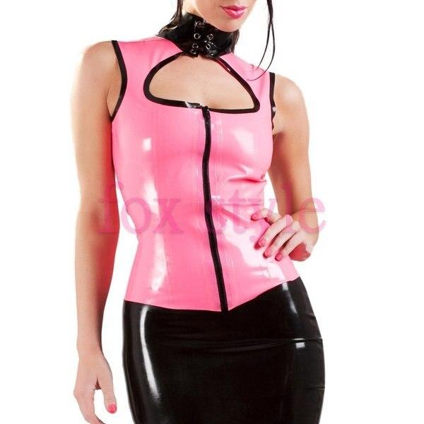 Латексная розовая Женская верхняя одежда без рукавов