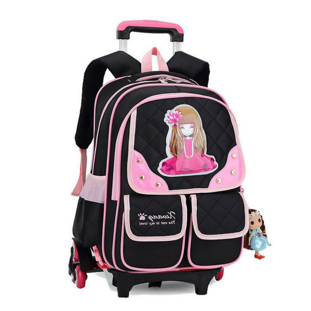 463bb53978 3 Wheels Children School bags trolley backpack carton pattern rolling  luggage kids detachable and orthopedic bag