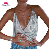WannaThis European Style Sexy Club Tops Women Summer 2017 Foil Print Tanks Deep V-Neck Crop Top New Arrivals Silver Tank Top