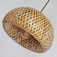 Bamboo Wicker Rattan Lampshade Pendant lamp, Hand Woven bamboo dome Pendant light, Asian Rustic Japanese lamp Design