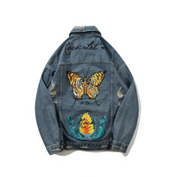 ABOORUN Hip Hop Mens Oversized Denim Jackets Butterfuly Printed Ripped Jeans Jackets Fashion Male Spring Autumn Coat x1153