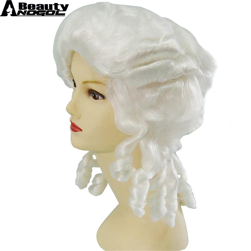ANOGOL BEAUTY Baroque Curly White Colonial Female Lawyer Judge Deluxe Historical Costume Synthetic Cosplay Wig For Halloween ...