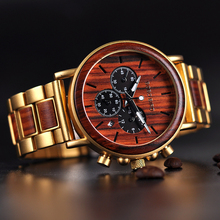 BOBO BIRD Business Men Watch Metal Wood Wristwatch Chronograph Date Di