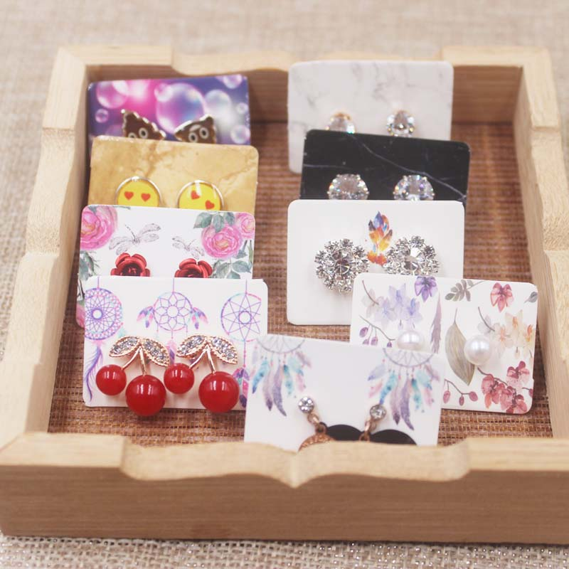 New Arrival100pcs/lot Paper Cute Earrings Card Multi Designs Ear Studs Earring Display Packaging Card Rectangle Jewelry Cards