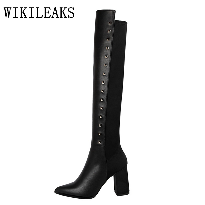 riding boots designer luxury brand rivets bigtree shoes woman thigh high leather boots women over the knee boots sexy high heels