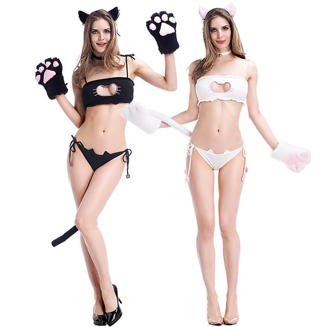 18166e30aab Sexy Cosplay Cute Outfit Kitten Lingerie Full Set Nightwear kitten Hollow  Embroidery Chest Underwear Open Chest Cosplay Costume