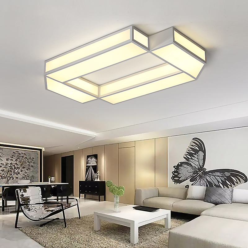 White Rectangle LED Ceiling Chandelier For Living Study Room Square Modern Led Ceiling Chandelier Lamp Fixture For Bedroom noosion modern led ceiling lamp for bedroom room black and white color with crystal plafon techo iluminacion lustre de plafond