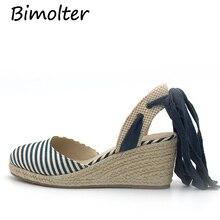 Bimolter/Новые летние сандалии с тканевым верхом; женская модная обувь на платформе и высоком каблуке; женские удобные пляжные сандалии в полоску; PSEB019