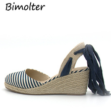 Bimolter New Summer Canvas Sandals Women Fashion High Heel Platform Shoes Female Striped Comfortable Beach Wedge PSEB019