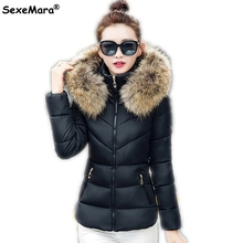 Winter Womans Jacket Women Big Fur Collar Hooded Coat Thick Warm Wadded Parka Slim Short Coat Female Outwear Slim Quilted Jacket