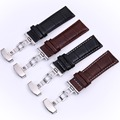 Genuine Calfskin Leather Deployment Folded Clasps Bracelet Watchband 18mm 20mm 22mm 24mm Black Brown