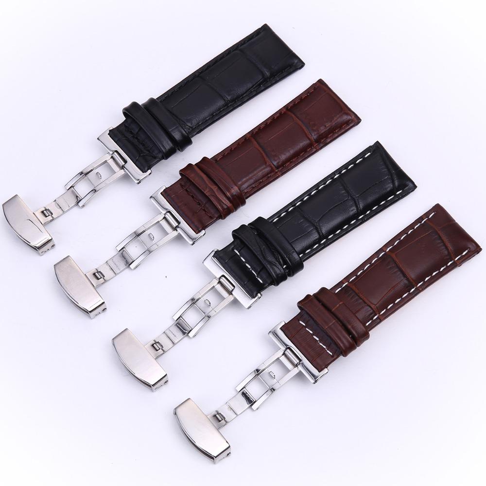 Prix pour Véritable Cuir de Vachette Déploiement Plié Fermoirs Bracelet Bracelet 18mm 20mm 22mm 24mm Noir Brun