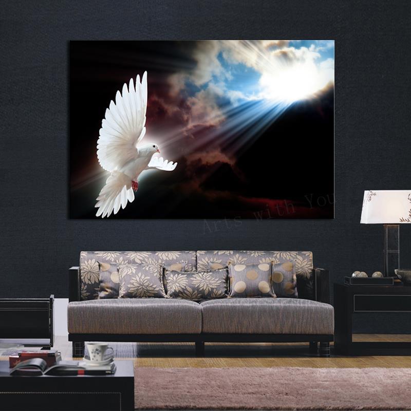 っsıcak Satmak 4 Panel Büyük Hd Beyaz Güvercin Güneş Dekoratif Sanat