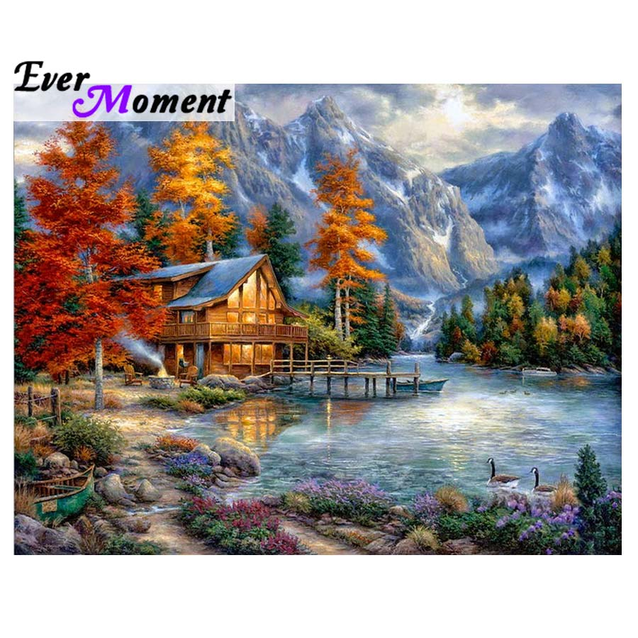 Ever Moment 5D Diamond Painting Full Square Scenery Dream House 5d Diamont Painting Diamond Embroidery Rhinestone Pasted ASF967