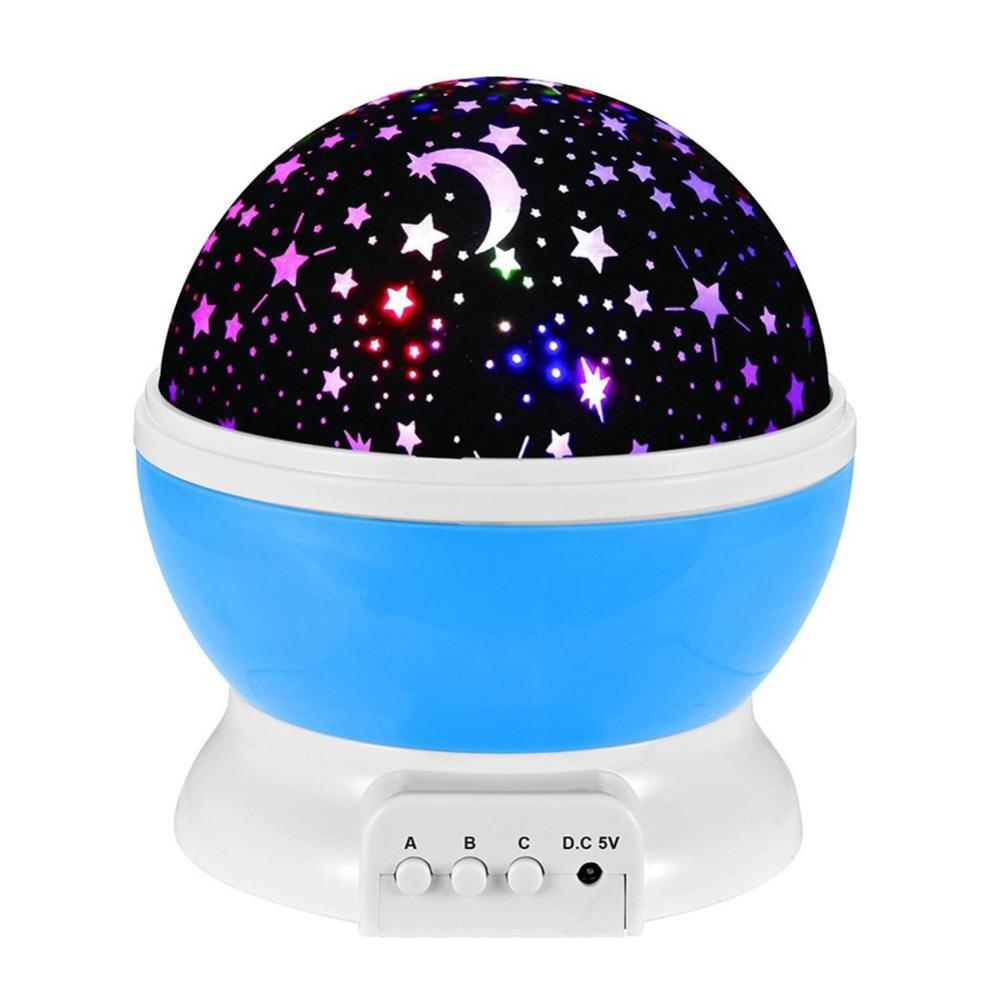 Romantic Dream Rotating Projection Lamp USB LED Night Light Sky Moon Star Master Projector for Kids Baby Sleep Lighting
