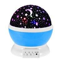 Romantyczny Sen Obracanie Projekcji Lampa USB LED Light Night Sky Księżyc Gwiazda Mistrz Projektor dla Dzieci Dziecko Sen Oświetlenie