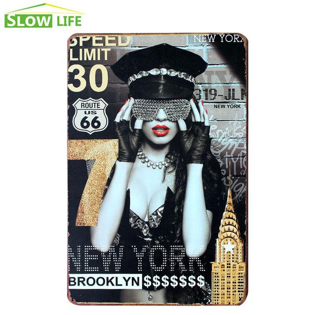 New York Brooklyn Girl Metal Tin Sign Vintage Home Decor Tin Sign ...