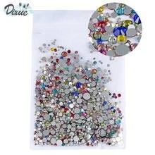 High Brightness Mixed Size 1000 / Pack Crystal Transparent AB Non-Thermal Modification Flat Bottom Diamond Nail 3D Art 350