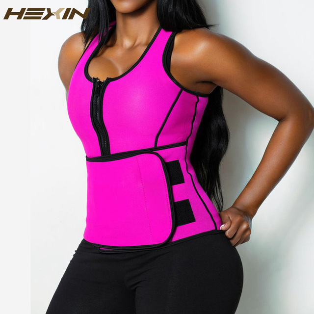7d1e6337f8 HEXIN Neoprene Sauna Waist Trainer Vest Hot Shaper Summer Workout  Shaperwear Slimming Adjustable Sweat Belt Fajas