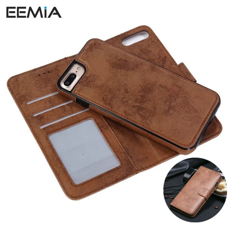 EEMIA телефон чехлы для iPhone 8 Plus силиконовый чехол ТПУ + PU кожаный чехол для iPhone 8 Чехол Съемный кошелек hoesjes для iPhone 8