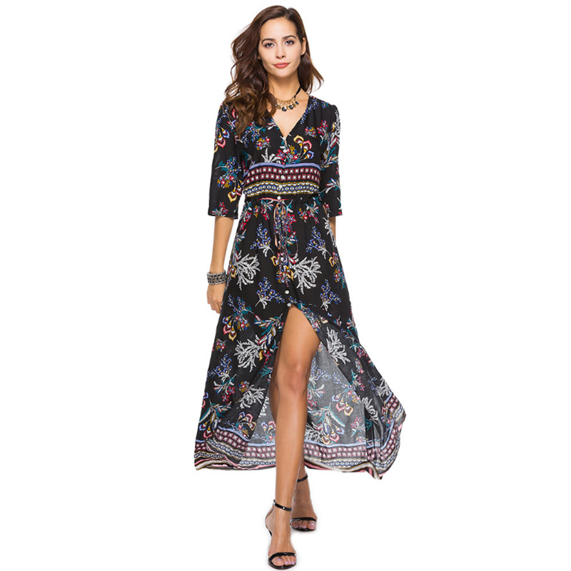 V Neck Boho Dress For Summer