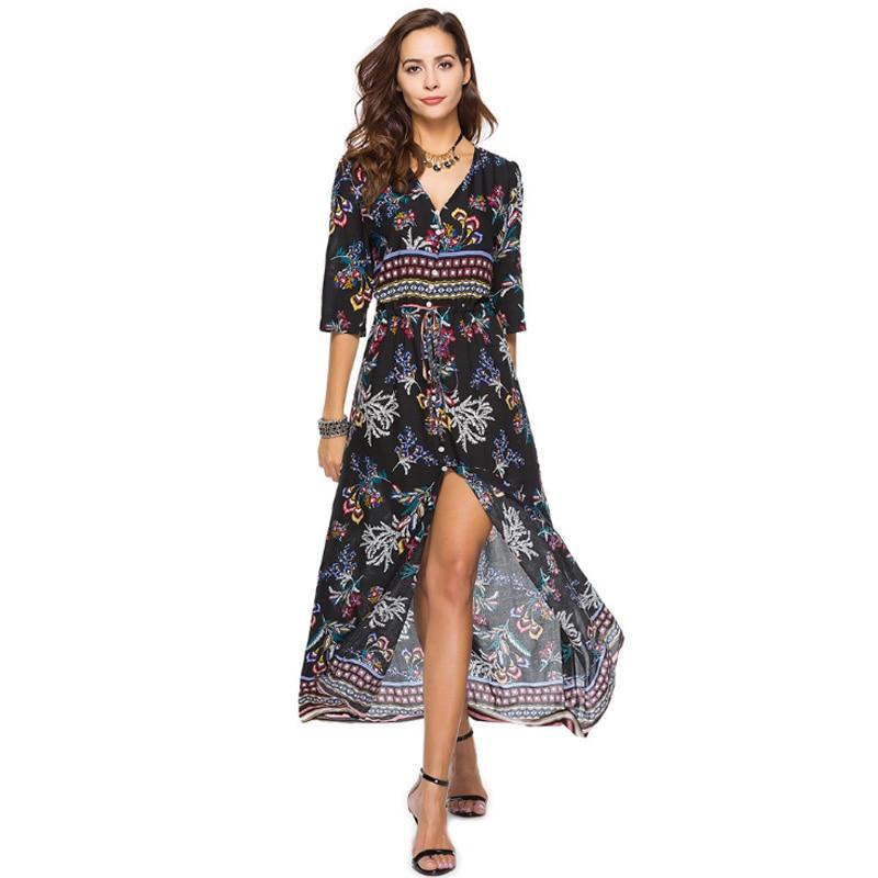 V Neck Boho Dress For Summer