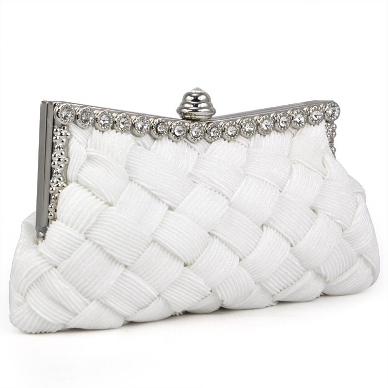 FGGS-WHITE Satin Bridal Evening Prom Clutch Handbag Purse