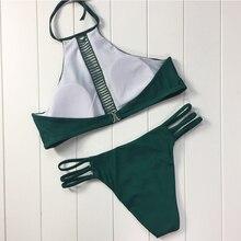 Women Bikini Bandage High Neck Strappy Hollow Out Green