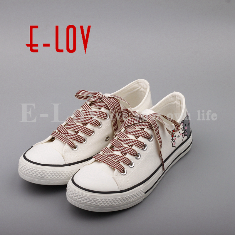 E-LOV New Arrival Casual Shoes Female Unisex Low Top Casual Flats DIY Hand Painted Cat Canvas Shoes Graffiti Zapatos Mujer e lov unique design taurus horoscope luminous canvas shoes women diy graffiti couples lovers casual flats zapatillas mujer