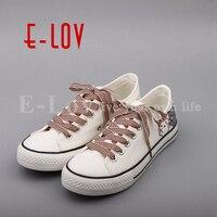 E-LOV Nieuwe Collectie Casual Schoenen Vrouwelijke Unisex Lage Top Casual Flats DIY Handgeschilderde Kat Canvas Schoenen Graffiti Zapatos Mujer