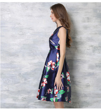 Summer Runway Dress Women's High Quality Sleeveless Fancy Floral Printed Mid Calf Dresses