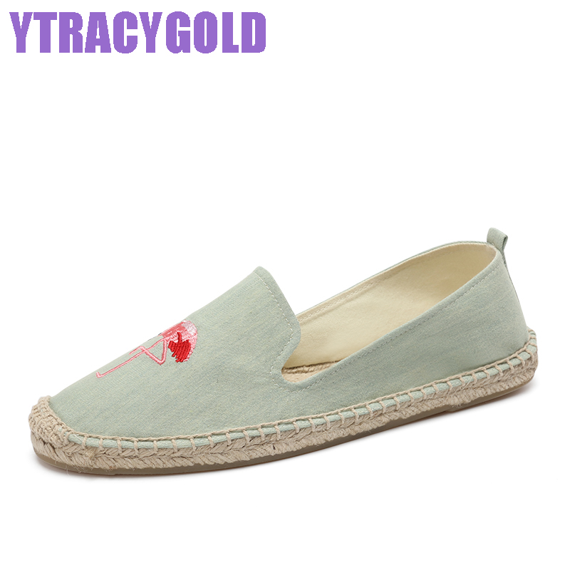 YTracyGold Embroidery Casual Shoes For Women Canvas Shoes Flexible Ladies Espadrilles Sweet Women's Flat shoes Zapatos mujer 2017 spring new women sweet floral embroidery pastoralism denim jeans pockets ankle length pants ladies casual trouse top118