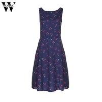2017 Kadınlar Mor Kolsuz Kiraz Baskılı Vintage Hepburn Rüzgar Elbise Temmuz 14 Zarif