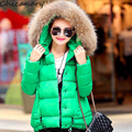 Jacket Coat Women Cotton Down Parkas With Luxury Large Fur Collar Hood Thick Coat Outwear 6Colors 2015 New Winter Plus M - 3XL