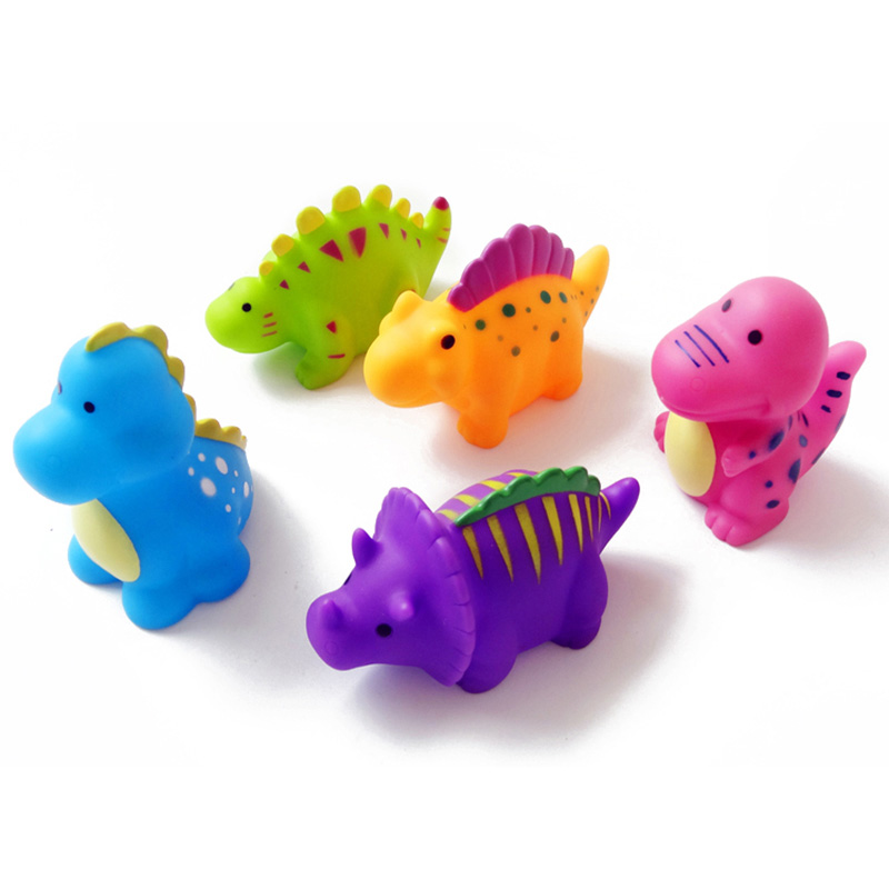 5Pcs cartoon Dinosaur Baby Bath Toys Mixed Color Soft Rubber Float Bathing beach Toy Swimming Pool Baby water Toys