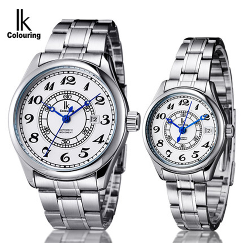 ФОТО male female business watches automatic mechanical couple clocks ladies man waterproof wristwatches stainless steel IKcolouring
