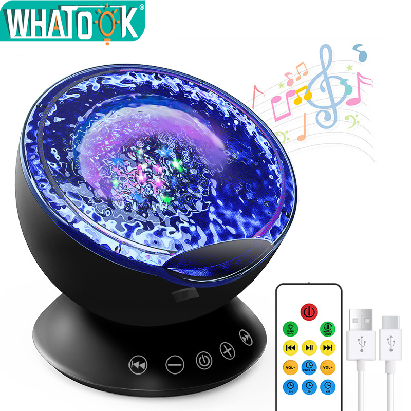 Ocean Wave Projector Night Lights Starry Sky Aurora Music Player LED USB Lighting Lamp Party Play Decor Luminaria Children Gifts