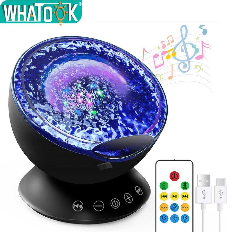Проектор волны океана, ночные огни, звездное небо, Аврора, музыкальный плеер, светодиодный, USB Освещение, лампа, вечерние, для игр, Декор, Luminaria, подарки для детей