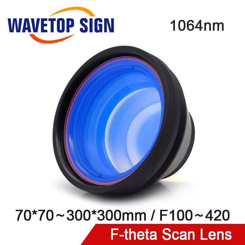 Lentille de balayage de champ de WaveTopSign JG f-theta 1064nm 70*70 ~ 300*300 F100 ~ 420mm pour la partie de Machine de marquage Laser de Fiber optique de 1064nm YAG