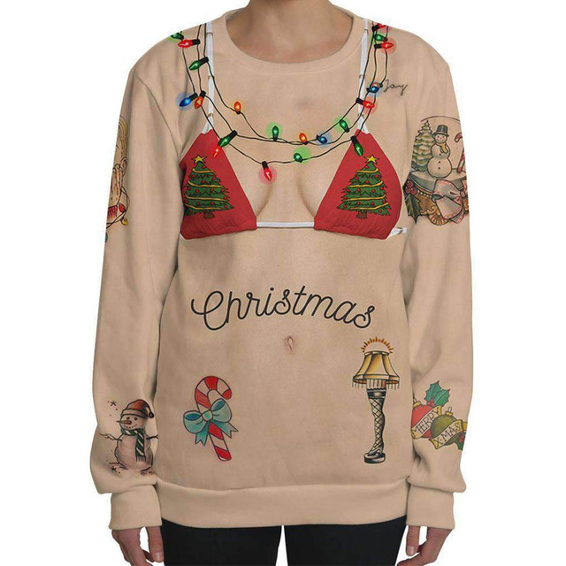 2019 Fashion Women Sexy Christmas 3D Print O Neck Long Sleeve Blouse Tops Sweatshirt Pullover for female