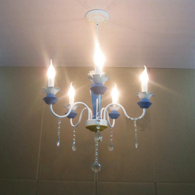 European 21 Blue Painted Iron Lamp Body Living Room Chandeliers Dining Room Chandelier Restaurant Chain Pendant Lamp Fixtures modern crystal chandelier led hanging lighting european style glass chandeliers light for living dining room restaurant decor