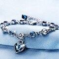 Longtiantian 2017 New Fashion Silver Plated Charm Beads Bracelet Cuff Bracelets Heart Crystal Jewelry for Women
