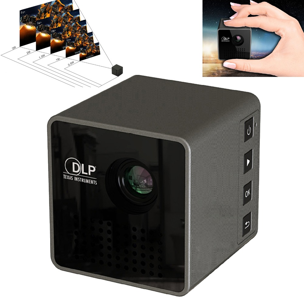 UNIC P1 <font><b>Mini</b></font> <font><b>HD</b></font> <font><b>Projector</b></font> Protable Pico Pocket Proyector Home Movie <font><b>Projector</b></font> DLP Beamer Battery TF/USB image