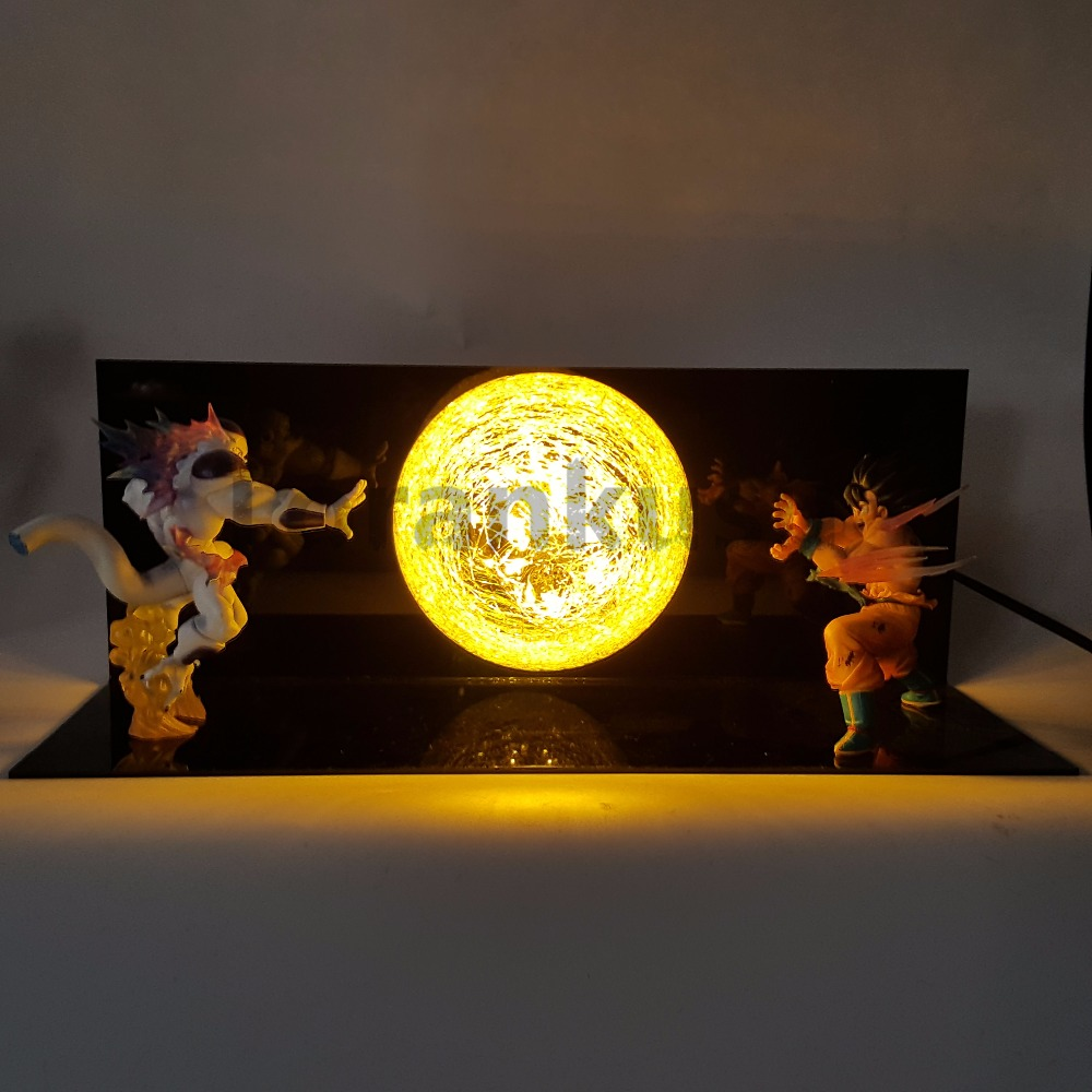 Dragon Ball Z Son Goku VS Freeza Action Figure Kaiouken DIY Led Table Lamp Anime Dragon Ball Z DBZ Son Goku Model Toy Gift 6 15cm dragon ball z figure toys resurrection f golden freezer frieza son goku anime dbz collectible model dolls