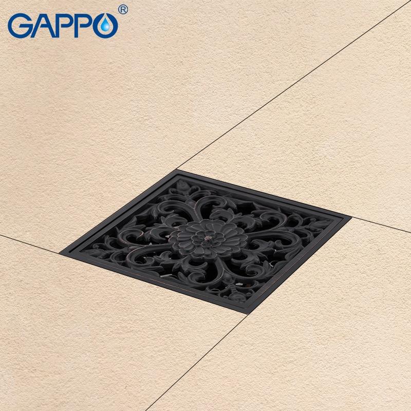 GAPPO black Drains bathroom drain shower floor drain brass floor cover chrome plugs shower drain stopper