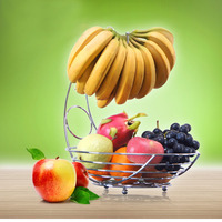 Superior Metal Fruit Basket Banana Rack Fruit Rack Storage Basket Table Kitchen Dinning Decoration Fruit Storage Basket BS