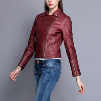 2017 New Fashion PU Leather Women Short Paragraph Spring Locomotive Faux Leather Jacket Small Coat