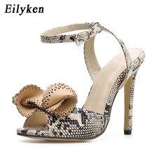 32a0bf68d Eilyken 2019 Nova Moda Imprimir Snakeskin grain Flor Super Sapatos De Salto  Alto Gladiador Sandálias Para As Mulheres Do Partido.