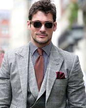 Custom Made double breasts Vest Grey plaid Suit Slim Fit Two Groom Tuxedos/Notch Lapel Best Man Groomsmen Men Wedding Suits